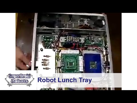 Robot LunchTray with retractable wheels and sensors