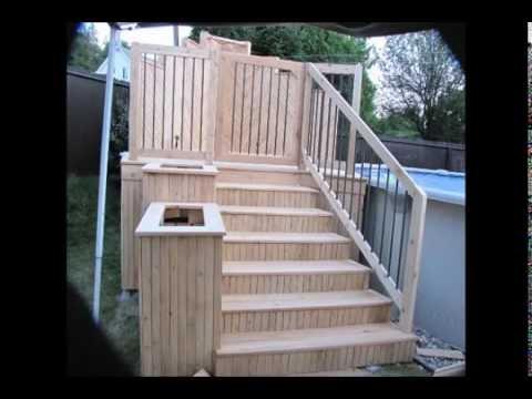 Deck de piscine en c dre youtube for Construire deck piscine