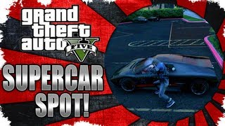 GTA V NEW SUPERCAR SPOT! PARKING LOT FULL OF SUPERCARS