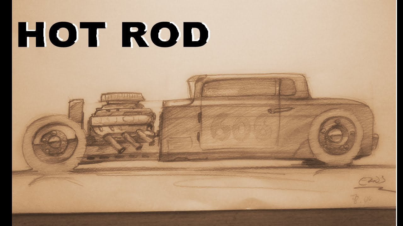 how to draw a hot rod side view youtube. Black Bedroom Furniture Sets. Home Design Ideas