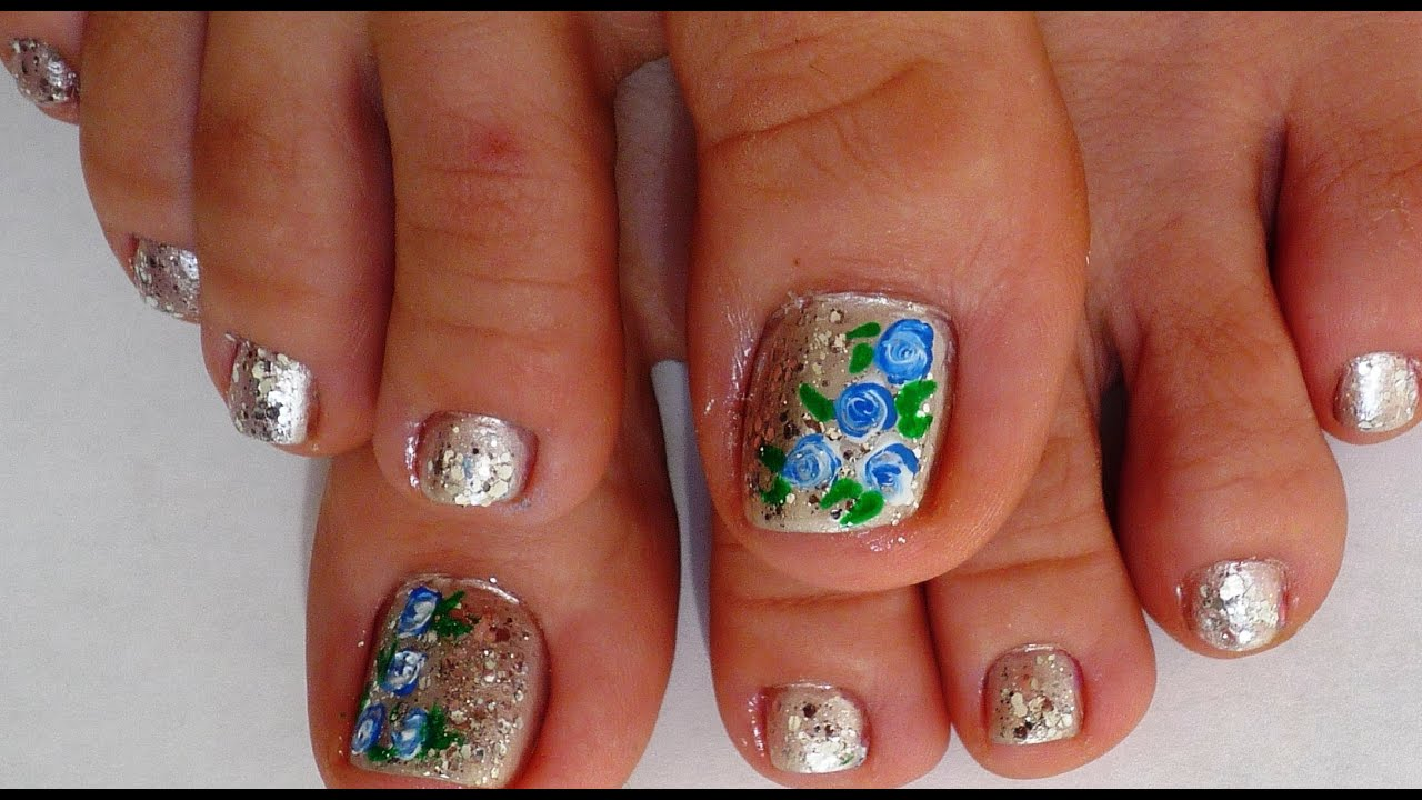 blue and white simple roses toe nail design youtube