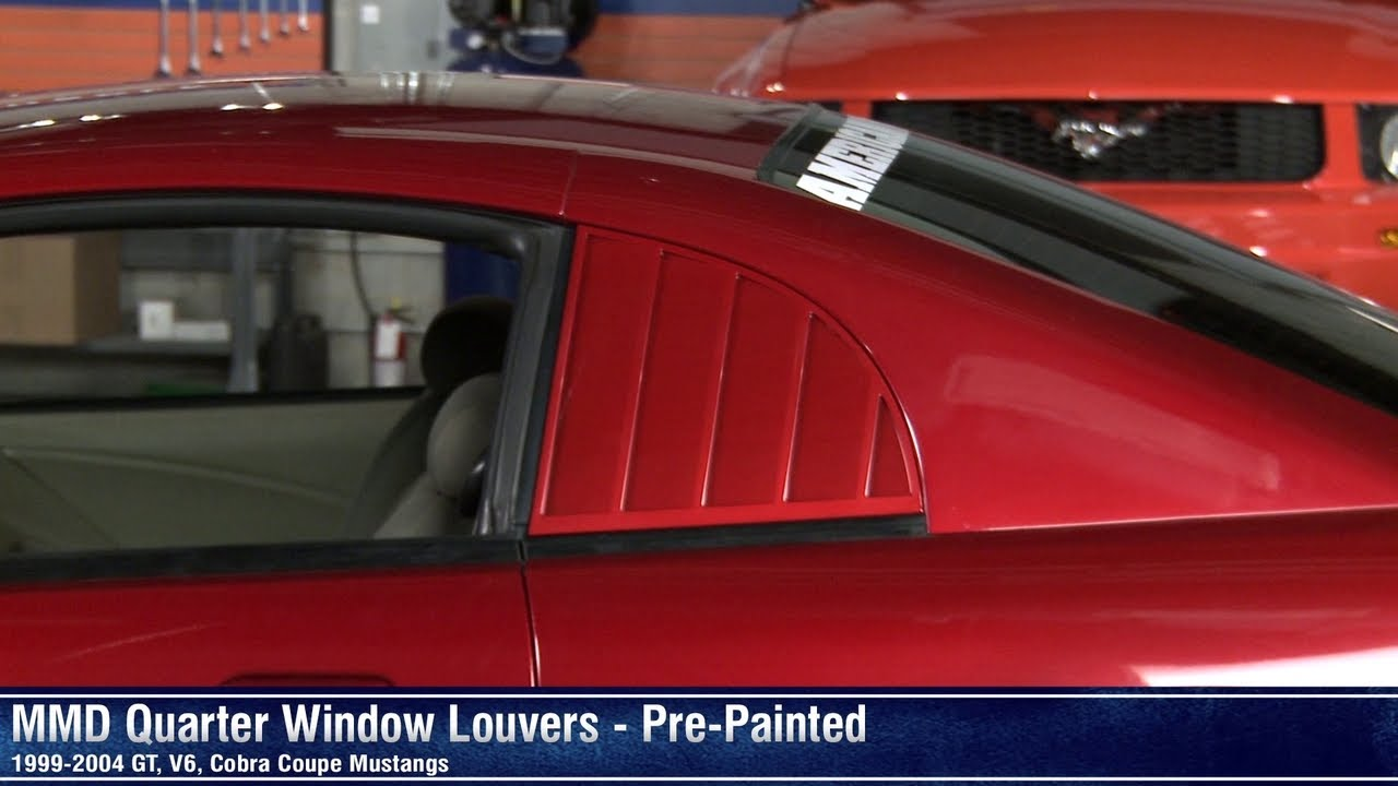Mustang mmd quarter window louvers pre painted w for 2000 mustang rear window louvers