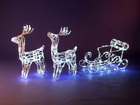 Renne en duo et traineau lumineux blanc 160 leds - Decoration noel renne lumineux ...