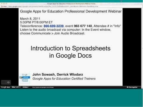 Introduction to Spreadsheets in Google Docs webinar