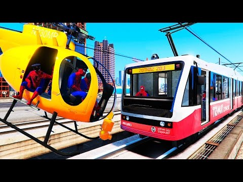 Trains and Yellow Helicopter - Fun Video with Nursery Rhymes Songs