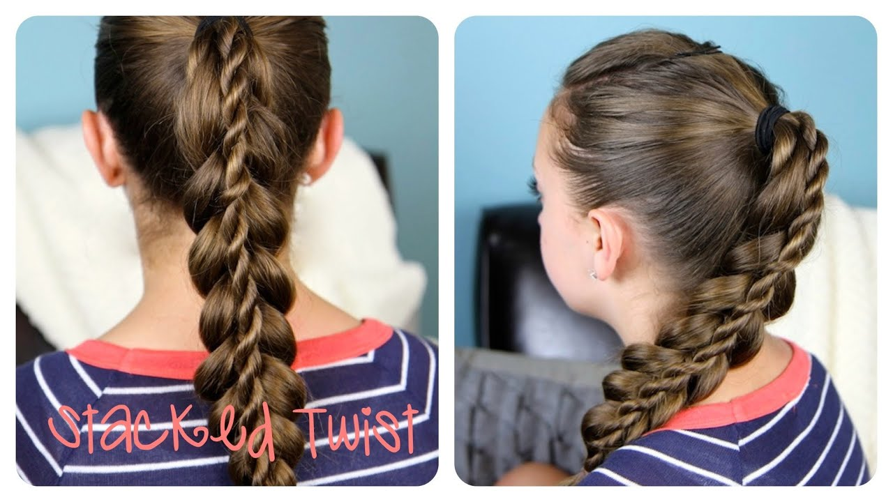 Stacked Twist Ponytail | Cute Girls Hairstyles - YouTube