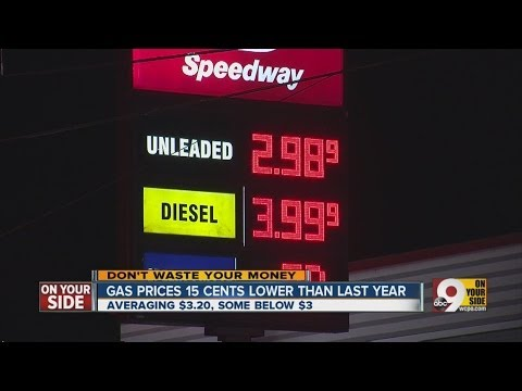 Gas prices 15 cents lower than they were Thanksgiving weekend 2012