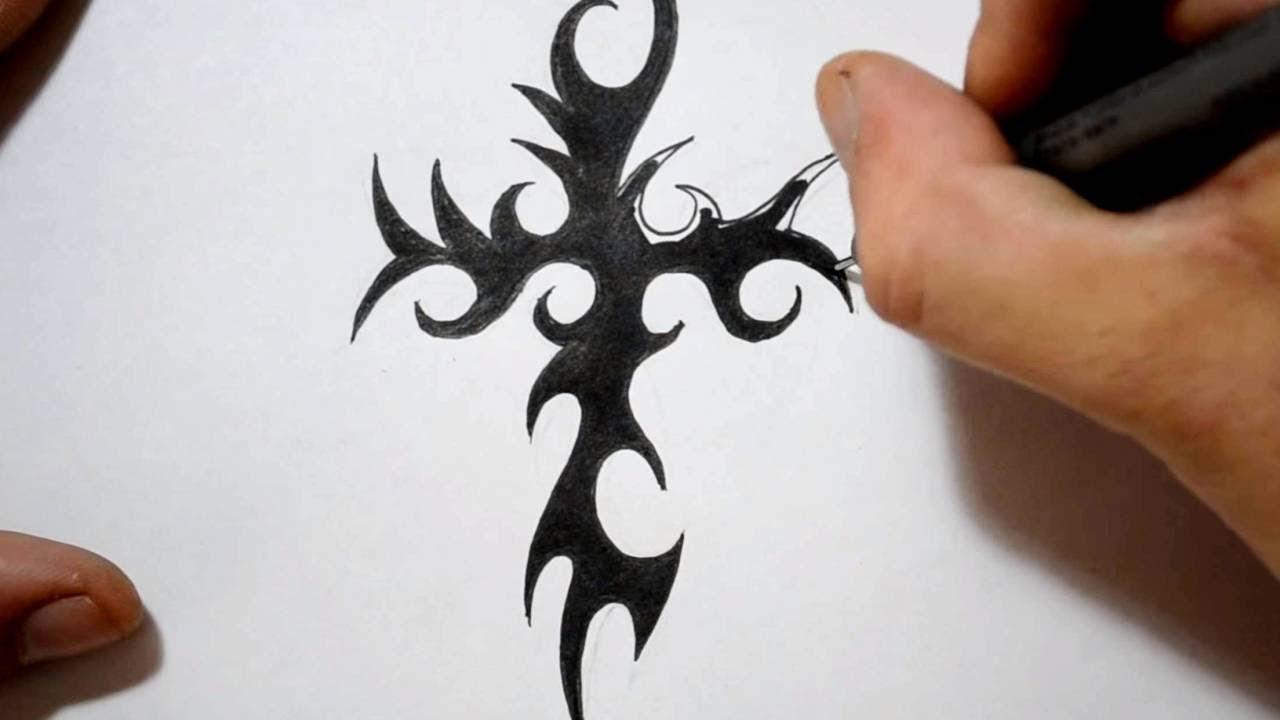 how to draw metalic cross