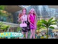Barbie Doll Shopping Mall Adventure for Dresses Shoes Barbie Girl drive pink car toy pretend play