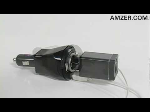 Amzer� Quad USB Vehicle Power Charger with Power Socket
