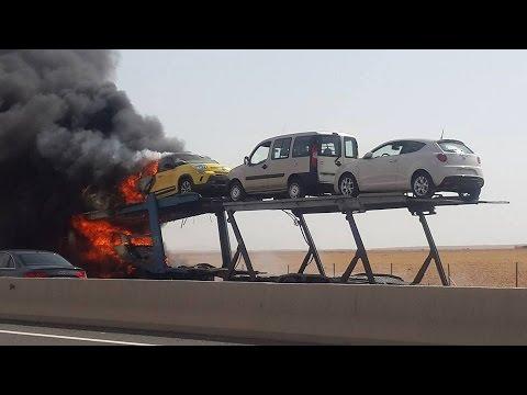 حريق بأسطول السيارات