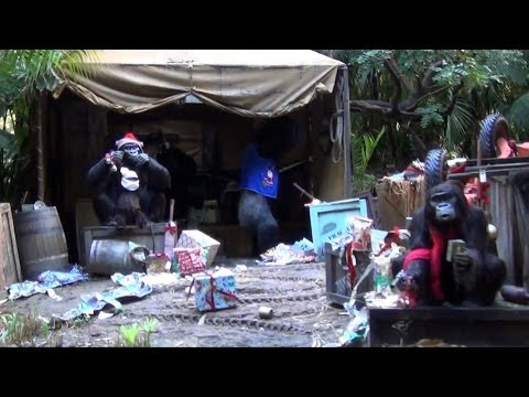 Jingle Cruise Christmas Overlay of The Jungle Cruise at Disneyland - Gorillas w/ Santa Hat, Beard