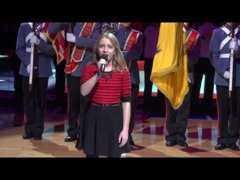 12 y.o. Brianna Jaffe sings National Anthem before Sixers Suns game 1-27-2014