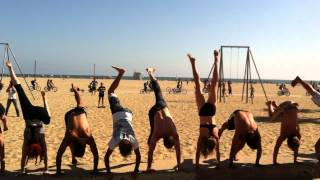 National Handstand Day at the Acro Green in Venice, Muscle Beach, with Tari Mannello