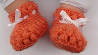 Puff Stitch Crochet Baby Booties How To Crochet Puff