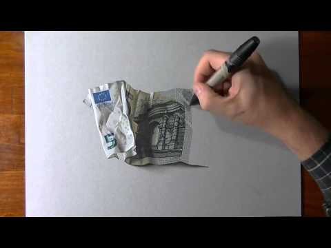 How to draw 5 euro banknote drawing