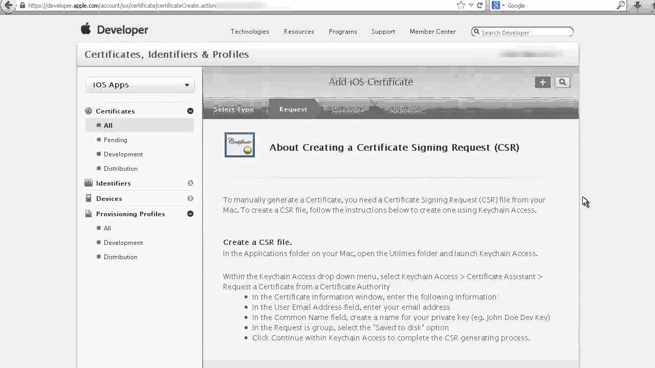 Apple iOS Distribution Certificate Setup