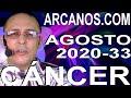 Video Horóscopo Semanal CÁNCER  del 9 al 15 Agosto 2020 (Semana 2020-33) (Lectura del Tarot)