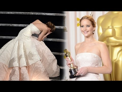Jennifer Lawrence Falls After 2013 Oscar Win - Acceptance Speech Best Actress