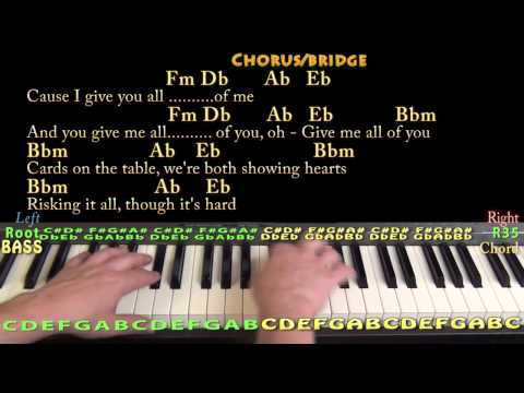 All Of Me (John Legend) Piano Cover Lesson with Chords / Lyrics