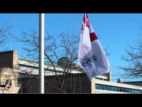 HMCS CATARAQUI Canadian Naval Ensign hoisting May 5, 2013