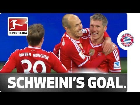 Schweinsteiger's free kick finds the top corner