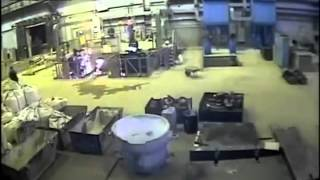 Explosion Showers Workers With Molten Metal