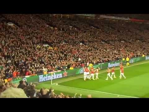 View from the stands: Robin Van Persie hat-trick free kick goal against Olympiacos