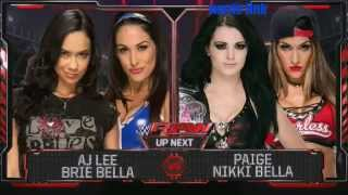 WWE Raw Aj lee & Brie Bella vs Paige & Nikki Bella 9/15/14