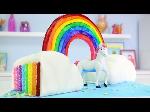 TRIPLE RAINBOW CLOUD CAKE
