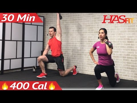 30 Min HIIT Kettlebell Workouts for Fat Loss & Strength - Kettlebell Workout Training Exercises