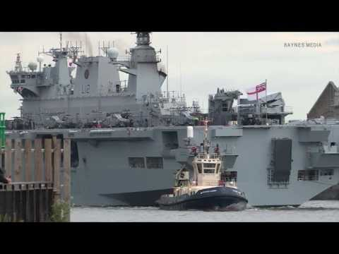 HMS Ocean in London for 2012 Olympics security