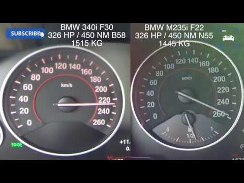 0-258 km/h:  BMW 340i F30 vs BMW M235i F22 Acceleration Autobahn