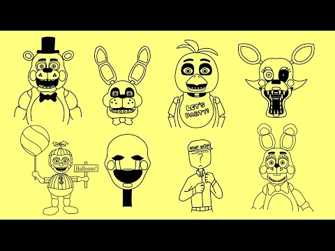 How to draw Five nights at Freddy's 2 characters - Bonnie, Chica, Foxy, Old Bonnie, Mangle