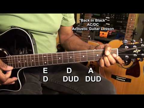 AC/DC BACK IN BLACK ACOUSTIC GUITAR LESSON TUTORIAL EricBlackmonMusicHD