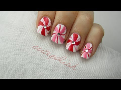 Nail Art for Christmas: Peppermint Swirls!