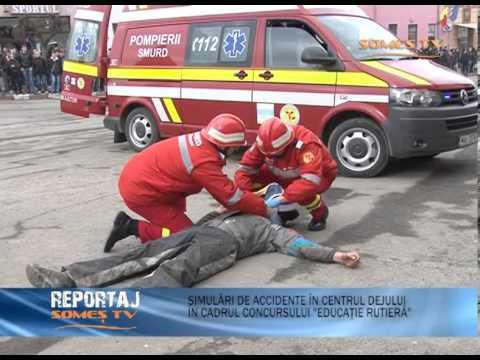 Simulari de accidente in centrul Dejului in cadrul concursului  Educatie Rutiera