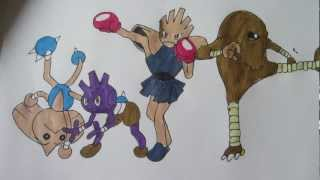 How To Draw Pokemon: No.236 Tyrouge, No106 Hitmonlee, No