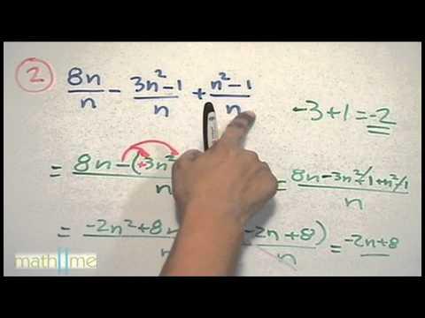 Suma / resta de expresiones racionales (mismo denominador) - HD