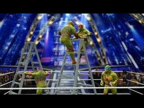 WWE 2K14 - NINJA TURTLES: Raphael vs Leonardo vs Donatello vs Michelangelo(TLC)