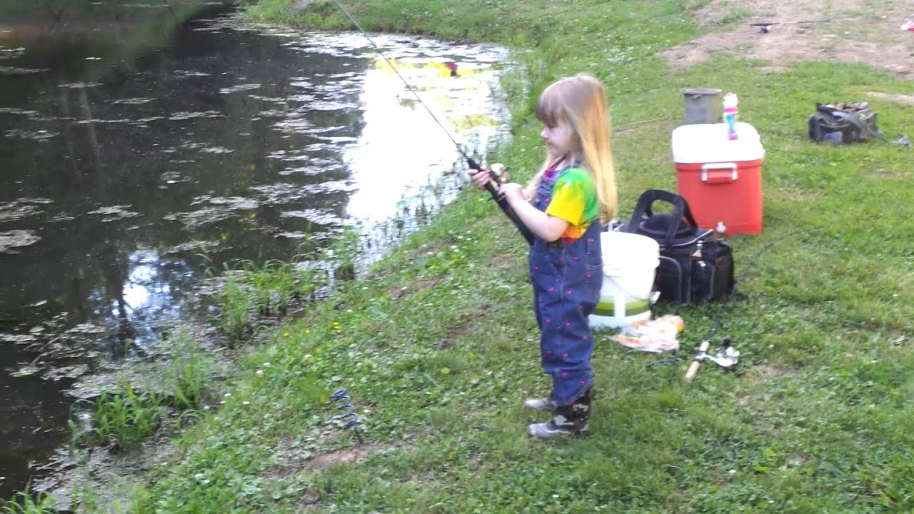 Little girl catching big fish youtube for Fishing license for disabled person