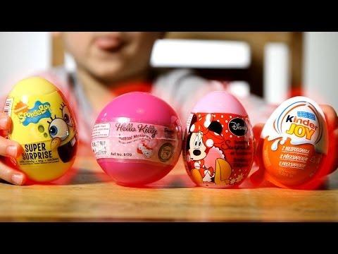 4 Surprise Eggs: Hello Kitty Egg, Kinder Joy, SpongeBob, Disney Minnie Mouse.