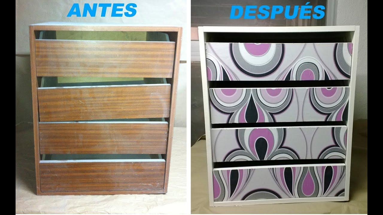 C mo decorar un mueble con papel pintado paso a paso - Decorar muebles con tela ...
