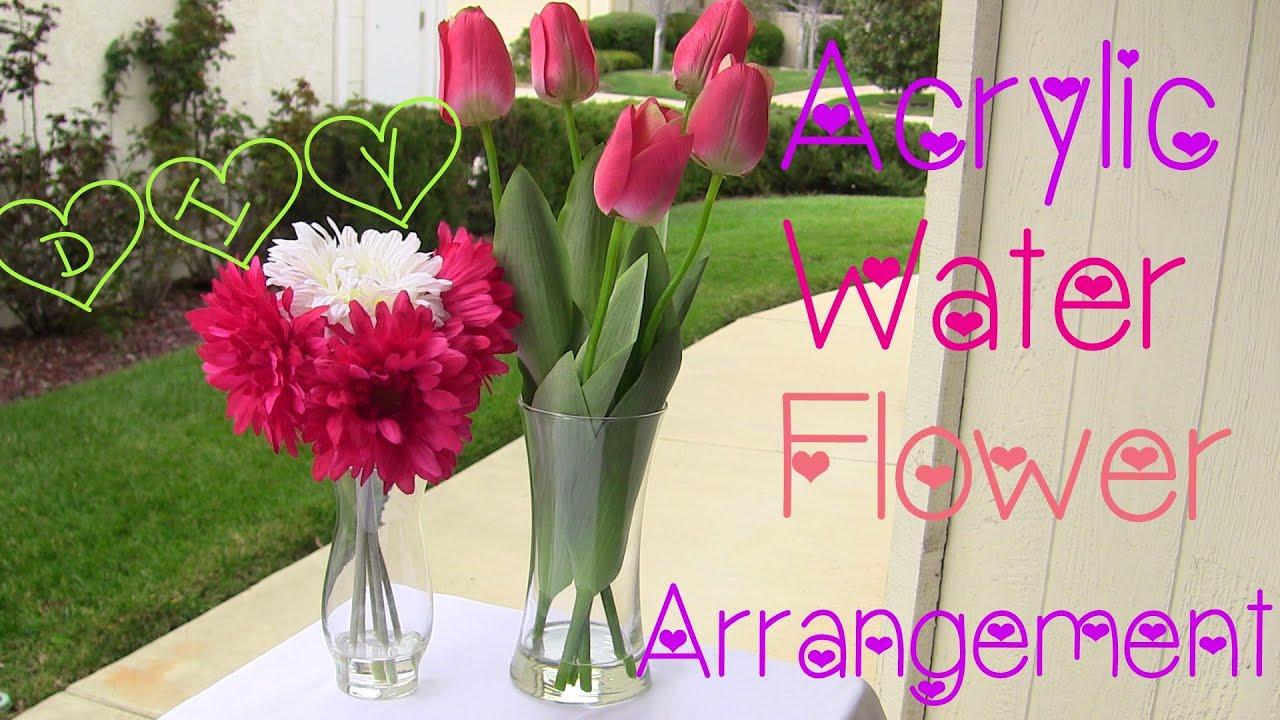 Diy acrylic water flower arrangement twi chic thursday for Do it yourself flower arrangements