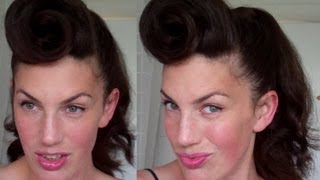 How To Rockabilly Roll Hairstyle Tutorial 40's 50's Pinup
