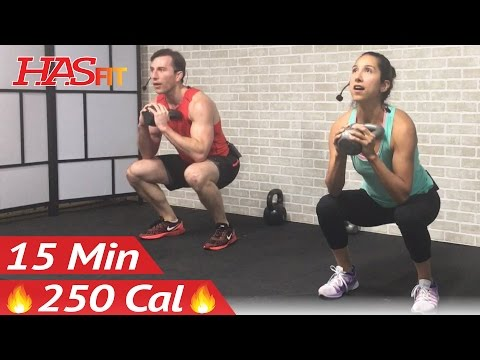 15 Min Kettlebell Workout - Kettlebell Workouts for Fat Loss & Strength Training Exercises Men Women