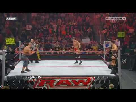 WWE MONDAY NIGHT RAW 1/18/10: JOHN CENA & KOFI KINGSTON VS LEGACY PART 1/2