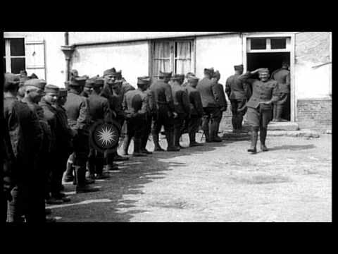 American soldiers seen in France, during lulls in battle, World War I HD Stock Footage