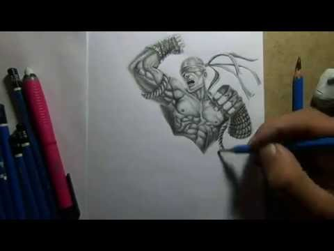 Pencil Drawing - Muay Thai Lee Sin