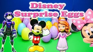 Opening Surprise Eggs with Mickey Mouse and Princess Friends